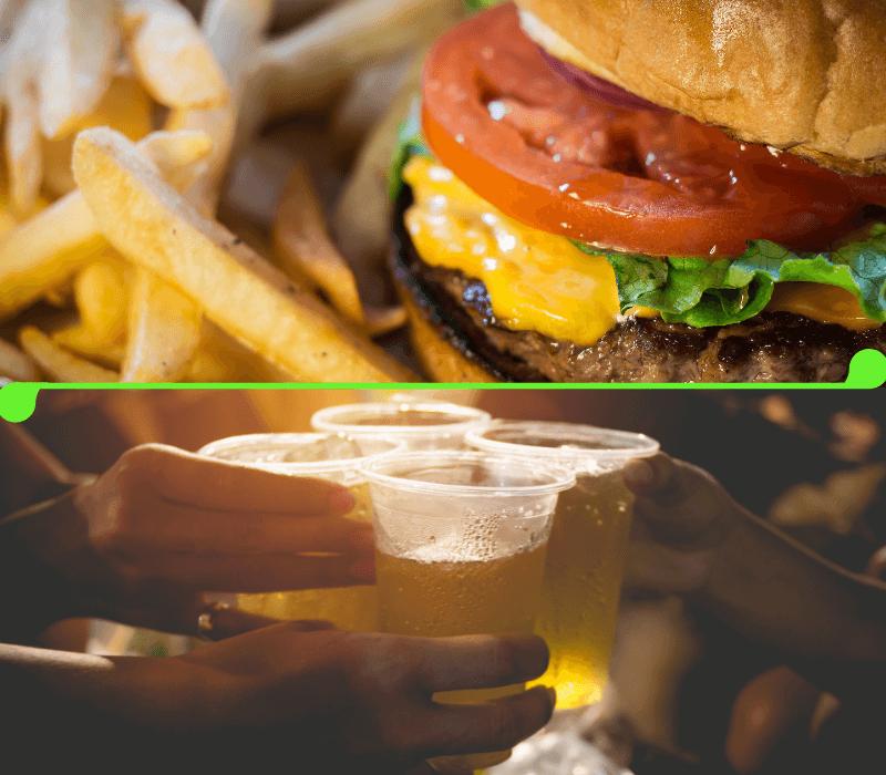A filling burger and draft beer